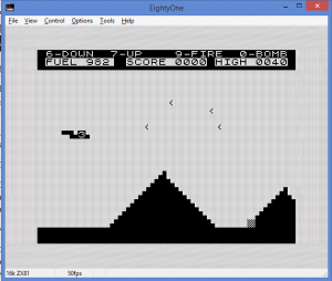 ZX81 Scramble game